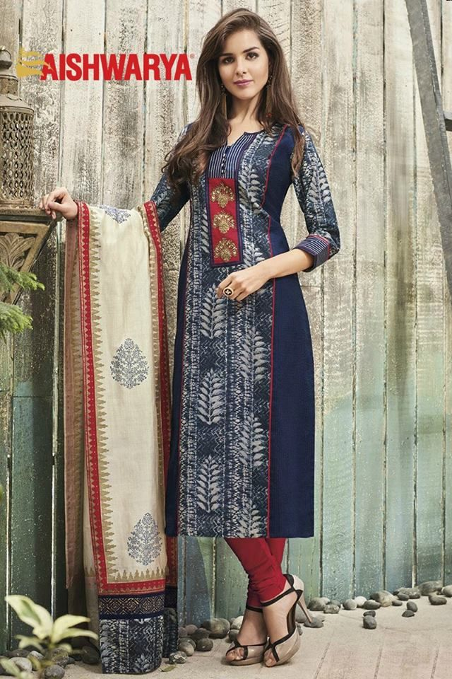 Cool, comfy and casual, this dress is all that you need to get a chic look! Buy Suit online - http://www.aishwaryadesignstudio.com/appealing-blue-suit-with-red-detailing
