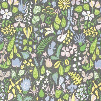 Tyget Herbarium från Ljungbergs är designat av Stig Lindberg. Ett exklusivt tyg som trycks på halvlinne och passar för gardiner mm.
