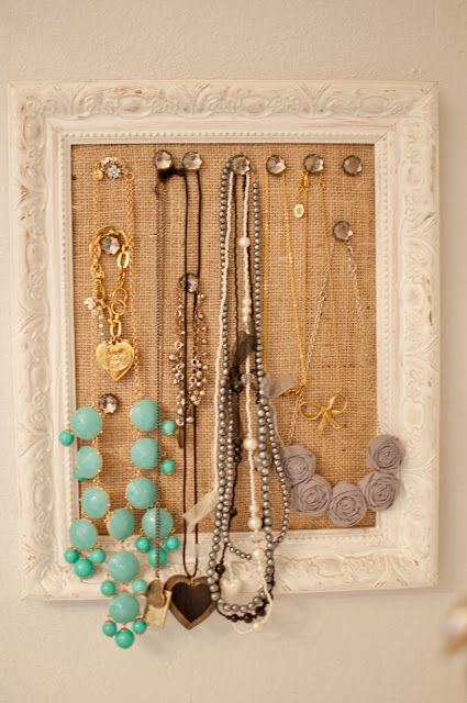 DIY Cork Board Jewelry Frame. Because I have a lot of necklaces