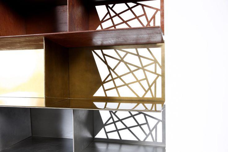 #shelf #gold #rust #silver #furniture #design #harrierdesign #vintage