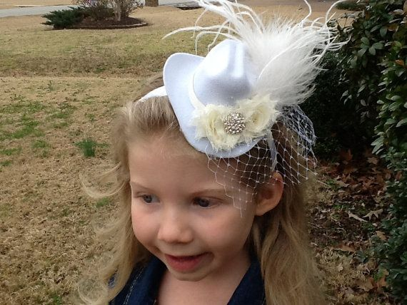 Mini Cream/White Cowboy hat with feathers by sewfabulous2 on Etsy, $20.95