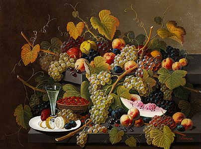Severin Roesen, Two-Tiered Still Life of Fruit about 1857-72.  Always a glass of something.  I expect that Wal*Mart heiress has hoovered up most of those not in museums, but I'd be happy with just one.
