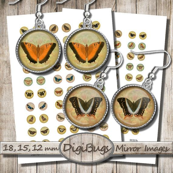 Butterflies, Digital Collage Sheet, 12mm, 15mm, 18mm Circles, Vintage Pastel Background, Round Jewelry Images - Printable Butterflies, a6