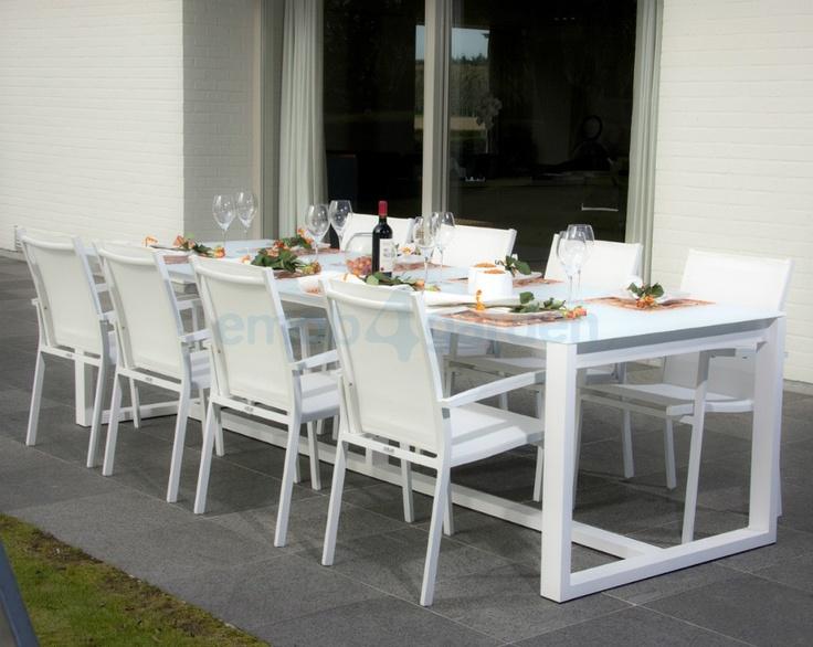 Queensland dining tuintafel wit - grote luxueuze tuintafels online bestellen   Emob4garden