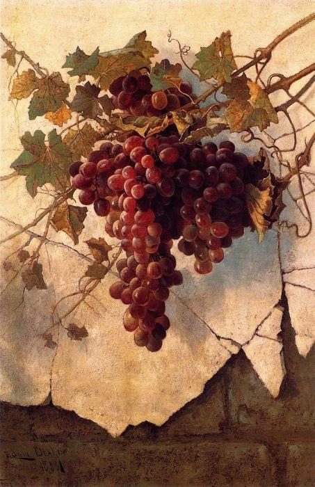 Edwin Deakin  (American, 1838-1923)  Grapes against a Mission Wall  1883