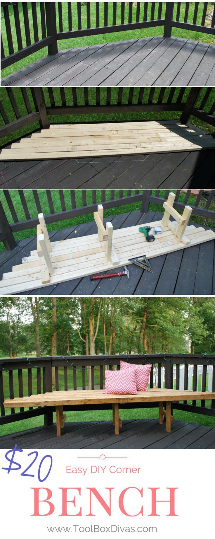 Solid roof pergola plans in addition park bench picnic table moreover - Easy Diy Corner Bench
