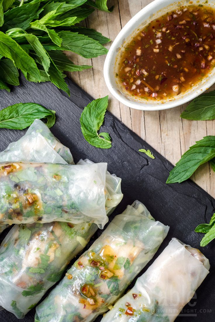 rice paper rolls with grilled lemongrass chicken   table twenty eight