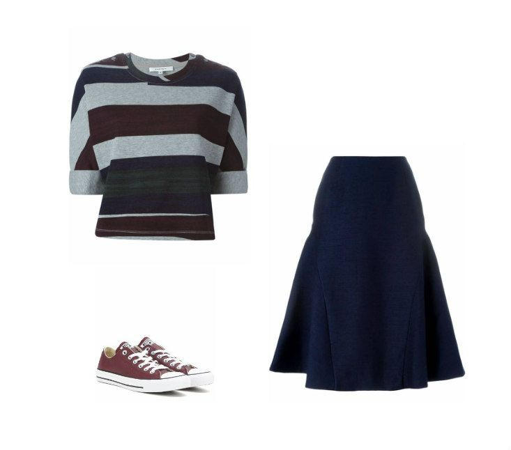 Casual Monday: top Carven, skirt C/Meo, sneakers Converse