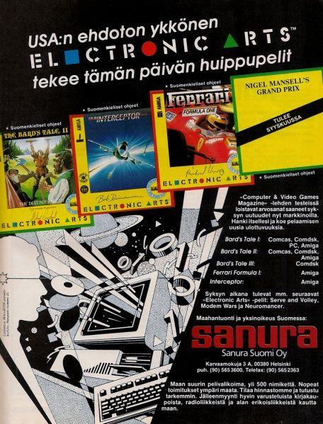 Sanura ad in the MikroBitti magazine (9/88).