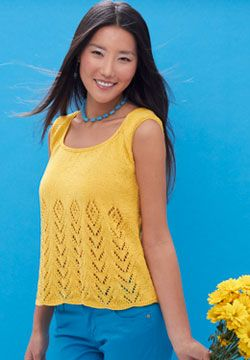 Brighten up with this sunny tank featuring lace panels. Shown in Patons Grace.