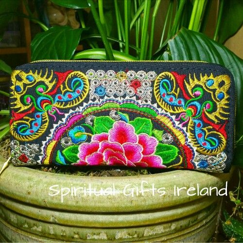 This gorgeous Tapestry Purse is handmade with coloured threads woven into a magical tapestry design, perfect for keeping your treasures safe.  Zip fastening with two inner sections.  Purse size: 200mm x 115mm x 20mm