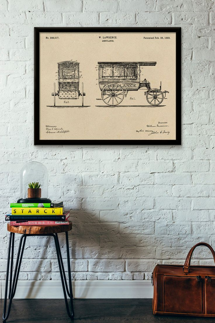 Ambulance Patent Print- 1889 - Poster Wall art Illustration Print Art Home Decor…