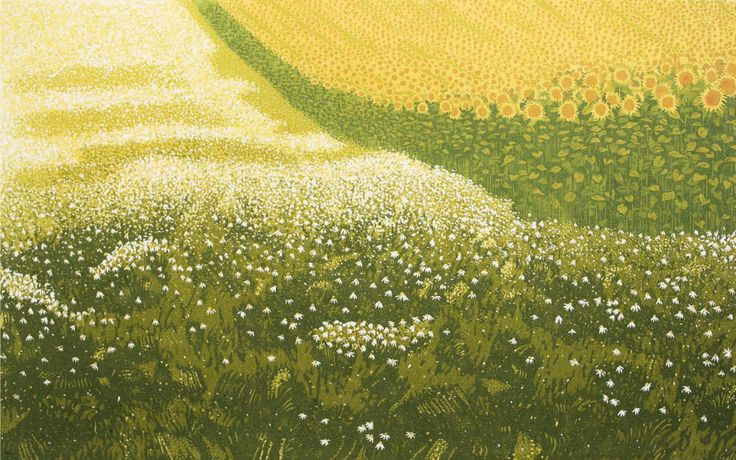 Milos Slama - Sunflowers and Camomile - (6-color linocut)