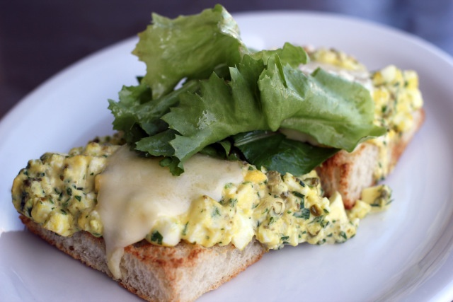 Il Cane Rosso: Clover Farm warm egg salad: Anchovy garlic butter + aged provolone + local greens + toasted Acme bread