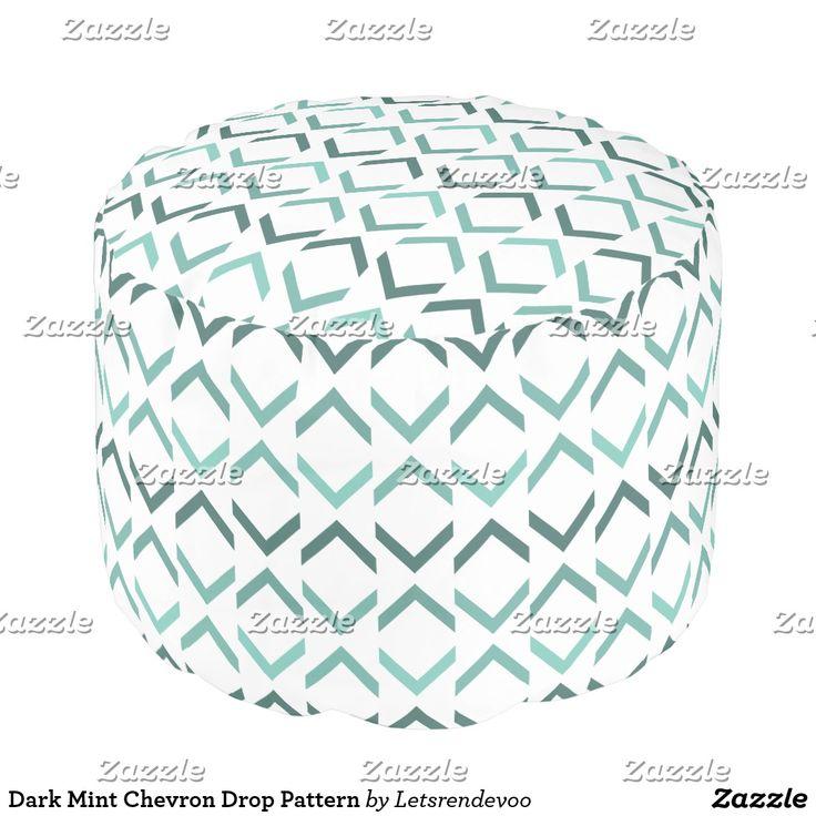 Dark Mint Chevron Drop Pattern Pouf