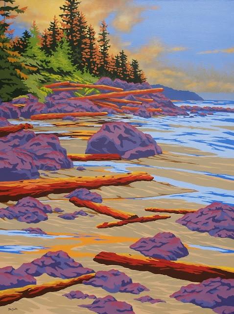 "Pacific Shores, Acrylic 30"" x 40"" by Joe Smith, Union Bay, BC, www.joesmith.ca"