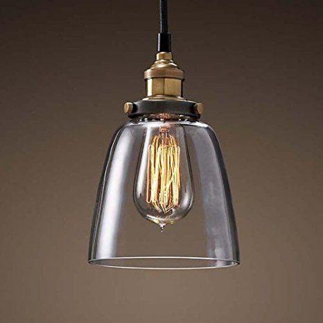 Glas Hängeleuchte Vintage Retro Pendelleuchte Blackburn E27 bis 40W 230V Loft Edison Hängelampe für Innen Pendellampe Decke Beleuchtung Wohnzimmer Esszimmer Küche