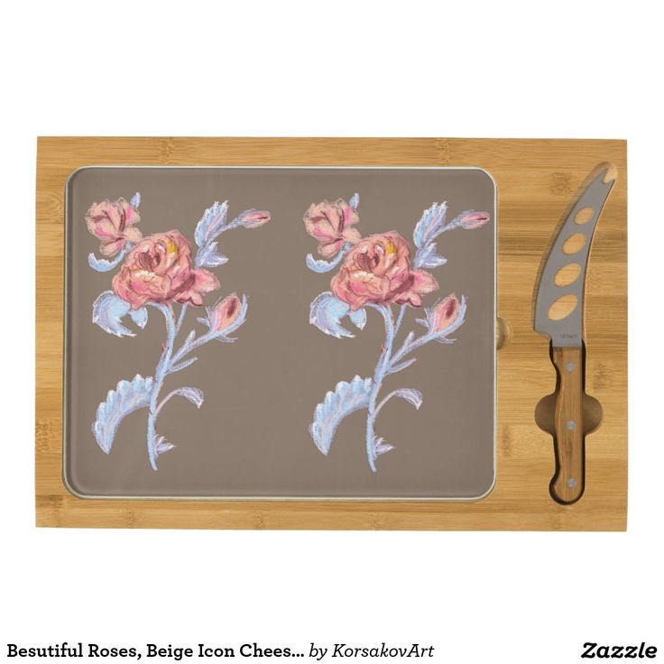 Besutiful Roses, Beige Icon Cheese Board Rectangular.  So simple and elegant. Best gift for Christmas.   #irinakorsakova #Christmas #gift #presents #present #flowers #nature #roses #artwork #art #cheese #food #eat #kitchen #accessories #interior #home #homesweethome #design #breakfast #dinner #today #nice #drawing #delicious #p