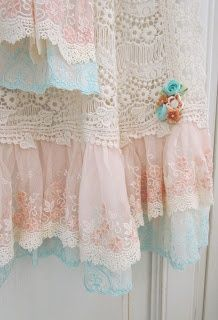 Shabby Chic Curtains - Love these pastel colors
