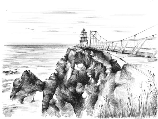 iPad sketch - Point Bonita lighthouse on Behance