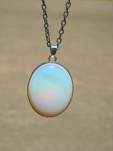 Moonstone Crystal Pendant Necklace.
