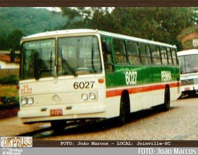 Ônibus da empresa Empresa de Ônibus Nossa Senhora da Penha, carro 6027, carroceria Mercedes-Benz Monobloco O-364, chassi Mercedes-Benz O-364. Foto na cidade de Joinville-SC por FOTO: João Marcos, publicada em 06/09/2017 18:28:50.