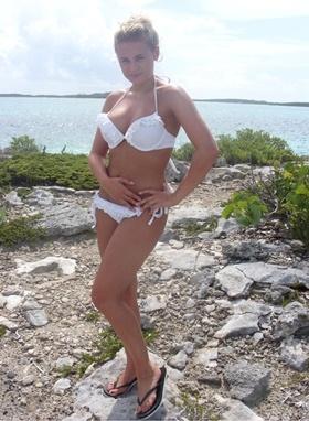 The Bachelor winner Khloe wearing Ruffles Gel Bikini Set with Tie-Side Briefs - White