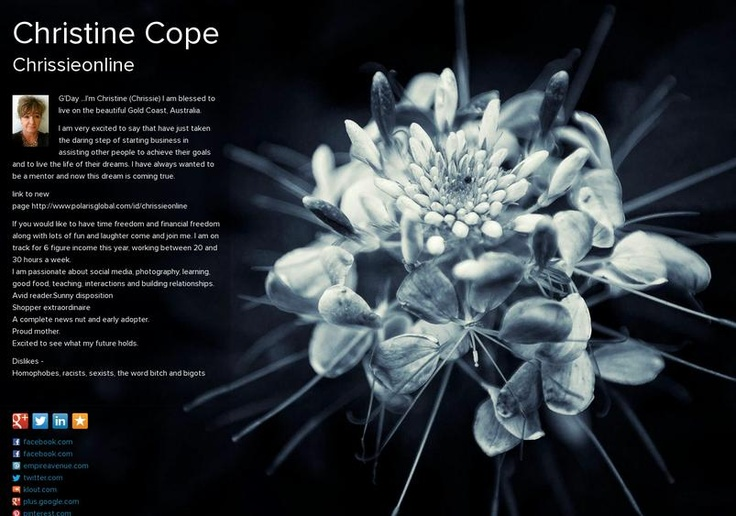 Christine Cope's page on about.me – http://about.me/christinecope