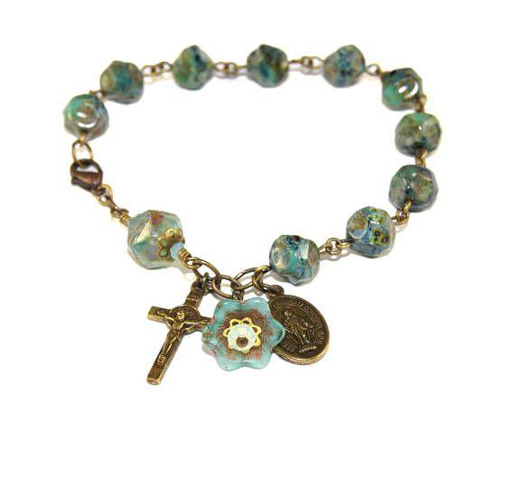 Rosary Bracelet Beautiful Catholic Jewelry St Benedict Cross