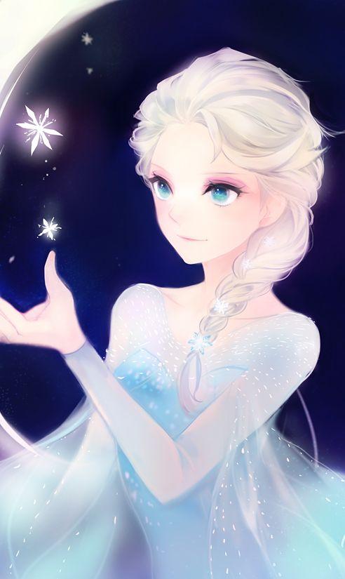 Tags: Anime, Snowflakes, Blue Background, Blue Dress, Disney, Frozen (Disney), Elsa the Snow Queen