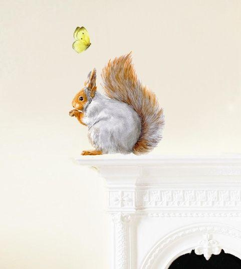 Naklejka tkanina na ścianę 'Grey Squirrel'