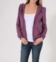 Brand and Label Ruffled Upper Detailed Hoodie in Purple