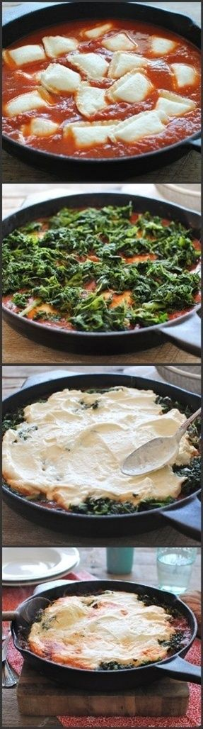Ravioli skillet lasagna - great recipe  This is delicious- especially if you make your own sauce! :)
