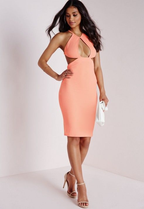 Cut Out Strappy Midi Dress Pink - Dresses - Missguided