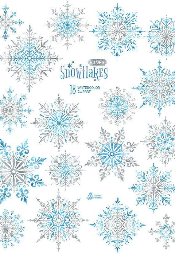 Los copos de nieve de plata. 18 elementos acuarela por OctopusArtis