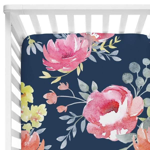 Crib Sheet - Navy Midnight Floral Bouquet