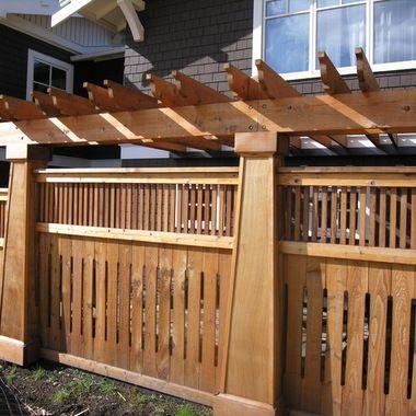 craftsman arbor   Custom designed and built craftsman style fence with pergola created ...