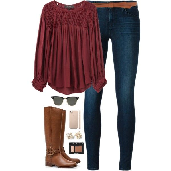 A fashion look from December 2014 featuring Isabel Marant blouses, J Brand jeans and Tory Burch boots. Browse and shop related looks.