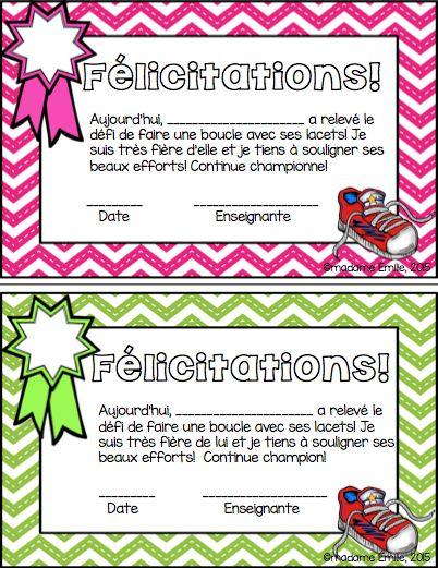 FREEBIE- GRATUIT Français: petits certificats pour les boucles de lacets! Préscolaire