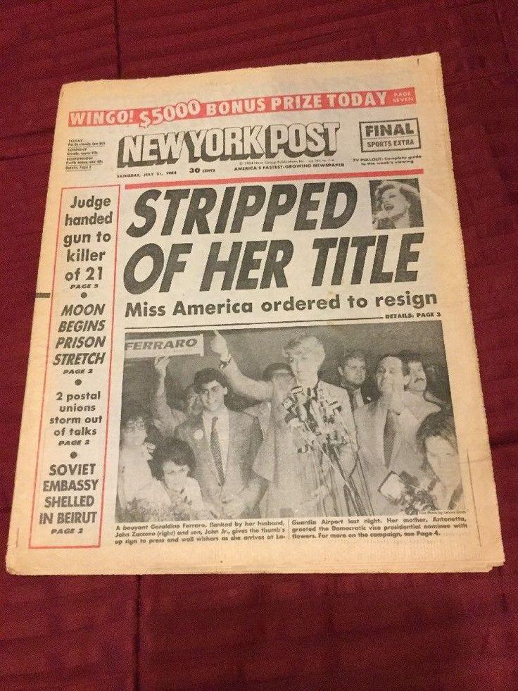 Vanessa Williams - Miss America Beauty Pageant - 1984 New York Post Newspaper