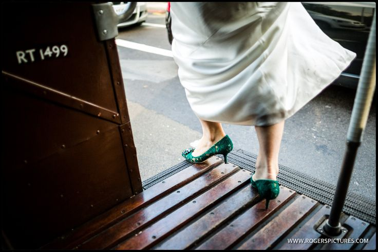Jess and her Dolce & Gabbana shoes swap busses on the way to the wedding reception -