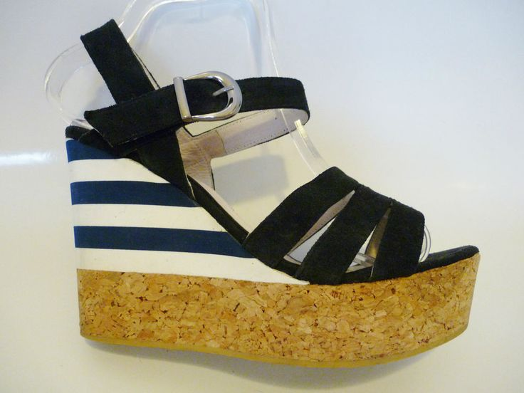 OGETTI NAUTICAL NAVY BLUE STRAPPY HEELS PLATFORM WEDGE SANDALS SIZE 39 UK 6 US 8