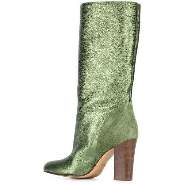 Michel Vivien heeled mid calf boots ($496) ❤ liked on Polyvore featuring shoes, boots, leather boots, mid calf leather boots, mid-calf boots, green leather boots and genuine leather boots