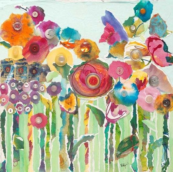 Flower Garden ~ torn paper collage Art project with the girls, large canvas for playroom