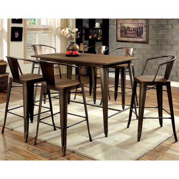 Furniture Of America Tripton Industrial 7 Piece Counter Height Dining Set