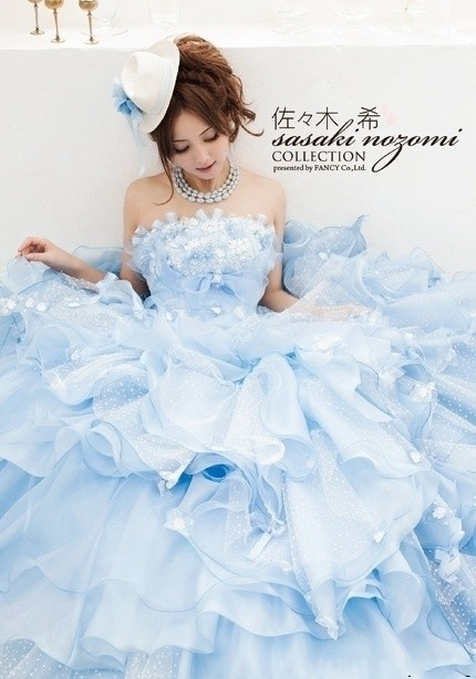 romantic blue wedding gown