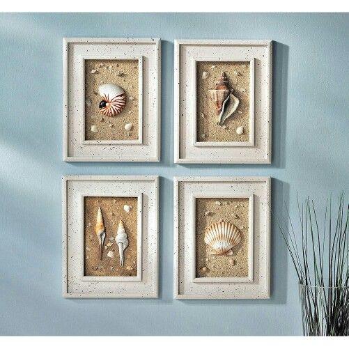 Seashell Framed Wall Decor Seashell Decor Pinterest