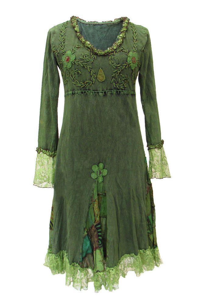 Gothic Witchy Pagan Elfe Goa Psy Ethno Nepal Kleid Bestickt Spitze S M L Xl Xxl Langarmliges Kleid Tuch Kleider