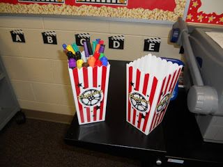 Clutter-Free Classroom: Hollywood Theme Classrooms {2011 Edition}  Yaya.... Not Hollywood, but movie theme with undertone of popcorn  Key words:  starring , star, produced by, new release, show starts at......teaching time, ,etc