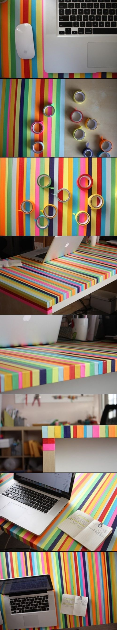 DIY Computer Desk Renovation. Cool idea for a lot of different things! Accidentally bought these random backless, unfinished wooden pic frames, so I could sand those down and try it on them! I could also decorate my own personalized notebooks, and my son's dresser top and a sunburst mirror, etc...  Possibilities are endless! :]